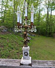 Antique Marble Cherub Crystal Prism Candelabra 5 Lights Arms Table Lamp Brass