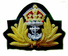 NEW UK ROYAL NAVY OFFICER HAT CAP CAPT ADMIRAL Bullion Badge KING CROWN CP MADE