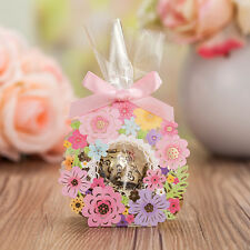 10X Pink Flower Babyshower Party Wedding Favours Sweets Boxes & Bags & Ribbons