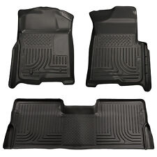 2009-2014 Ford F-150 Crew Cab Floor Mats Black Husky Liners WeatherBEATER 1500