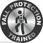 """FALL PROTECTION TRAINED 2"""" Chrome Hard Hat Sticker Safety Decal FREE SHIPPING"""