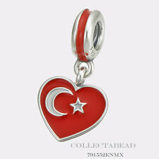 Authentic Pandora  Silver Dangle Enamel Turkey Heart Flag Bead 791552ENMX