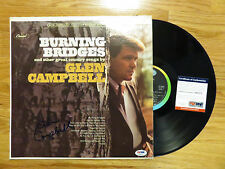 GLEN CAMPBELL signed BURNING BRIDGES 1967 Record / Album PSA / DNA
