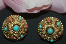 LOVELY JEWELS OF INDIA SIGNED CROWN TRIFARI CLIP ON EARRINGS-MINT!!!!!
