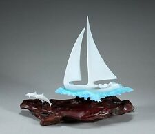 SAIL BOAT YACHT DINGY Sculpture New direct from JOHN PERRY 9in tall Statue Art