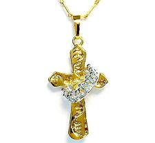 Claddagh Cross Pendant with Chain, 18k Gold Plated w/ 18k Platnium Plated Crown