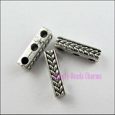 20Pcs Tibetan Silver Wheat 3-Hole Spacer Bar Beads Charms 4x15mm