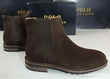 $395 Polo Ralph Lauren Adley Dark Brown Suede Leather Pull Up Boots Shoes 9 D 8