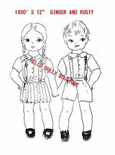 """1930'S 12"""" GIRL & BOY COLTH DOLL PATTERN WITH CLOTHES"""