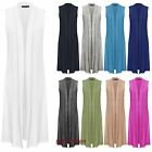 New Ladies Womens Sleeveless Front Open Long Length Boyfriend Maxi Cardigan
