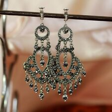 Boucles d`Oreilles Clips Gros Chandelier Vintage Style  Soirée Mariage Cadeau C1