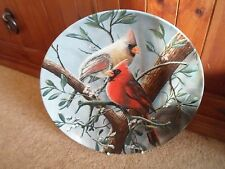 "Fabulous Colourful BIRD Scene ""The Cardinal"" Plate by Kevin Daniel"