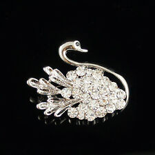 14k white Gold plated Swarovski elements brilliant crystals swan brooch pin