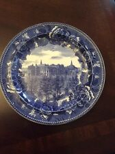 """Antique Wedgwood blue scenic 9&1/4"""" plate """"Wellesley College"""""""