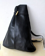 Longchamp Paris Large Black Leather Sling Bag Single Strap Backpack Unisex Rare!