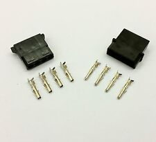 MALE & FEMALE 4 PIN MOLEX PC PSU POWER CONNECTORS - 1 OF EACH- BLACK INC PINS