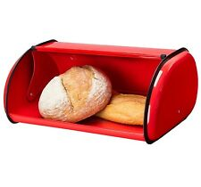 Bread Boxes For Kitchen Vintage Bin Roll Top Red Food Storage Container Bun