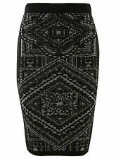 MISS SELFRIDGE BLACK KNIT NAVAJO MIDI SKIRT 10 BNWT ASOS