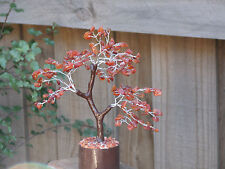 Large Carnelian Crystal Gemstone Tree - 240mm Tall - Wooden Base, Crystal Chips