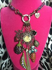 Betsey Johnson Vintage Cherub Lamb Carrot Pea Pod Egg Plant Angel Necklace RARE