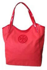 NWT TORY BURCH DIPPED CANVAS STACKED LOGO POPPY RED TOTE SHOULDER BAG MSRP-$395