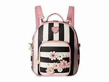 NWT Betsey Johnson Mini Convertible Flower Stripe School Backpack Shoulder Bag