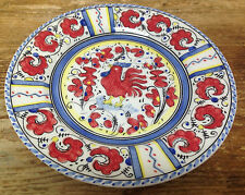 Portuguese Portugal 1 Salad Plate Rooster POR 49 Maker? Red Majolica Blue Yellow