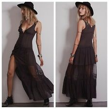 NWOT Free People Victoria Button Front Maxi Slip Dress Charcoal XS Lace Rare