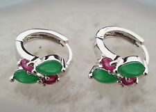FINE NATURAL RED RUBY &  GREEN EMERALD WHITE 9K SOLID GOLD EARRINGS