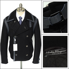 Mens SALVATORE FERRAGAMO Black Wool Leather DB Pea Coat Jacket 48 38 S M NWT!