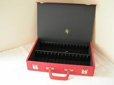 Vintage Original 1970's RED Vinyl Cassette Tape Storage Carry Case Box Holds 32