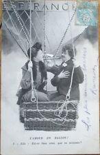 1905 French Fantasy Aviation Postcard: Couple in Hot Air Balloon - 5