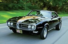 1968 PONTIAC FIREBIRD BLACK AND GOLD POSTER 24 x 36 inch