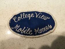 Vintage Mobile Home Trailer Park Patch Badge 60's 70's College View