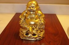 Zen Gold Buddha Happy Buddha Cast Cement Statue/Figurine  5 3/4 tall 1.6 pound