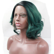 Africans Style Black Green Ombre Synthetic Lace Front Wig Short Bob Hair Wig