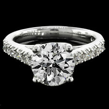 2.45ct ROUND CUT Lucida style diamond engagement Ring 14k WHITE GOLD D COLOR