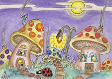 LadyBug village Night ACEO PRINT EBSQ Kim Loberg Fantasy mini Art Fire fly Light