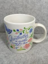 GRANDMOTHER IS ANOTHER WORD FOR LOVE FLORAL & BUTTERFLY MUG CUP