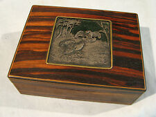 Antique EXOTIC WOOD DESK BOX WITH SILVER PLATE INLAY - GAME BIRDS