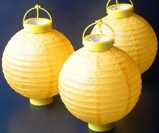 1 x Yellow Hanging Paper Lantern Battery LED Chinese Party Lights 150 hours