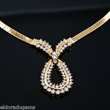 STUNNING! 2.80 CT. DIAMOND CENTER DESIGN OMEGA NECKLACE 14K YELLOW GOLD