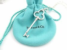 Tiffany & Co Silver HUGE 2 Inch Trefoil Key Oval Link Chain Necklace!