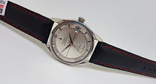 RARE USED VINTAGE UNIVERSAL GENEVE POLEROUTER  DATE AUTO SILVER DIALMAN'S WATCH