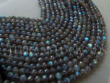 "14"" SPECTROLITE LABRADORITE faceted round gem stone beads 6mm - 6.5mm blue green"