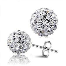 925 Silver Plated 8mm Shamballa Stud Crystal Disco Ball Stud Earrings Hot Sale