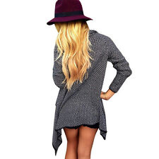 New Arrival Womens Knitted Long Sleeve Autumn Cardigan Jacket Loose Cape Coat