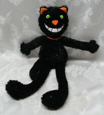 Halloween Black Cat Green Eyes Cheshire Smile White Teeth Fun Trick & Treats
