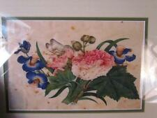 ANTIQUE CHINESE FLORAL PITH PAPER PAINTING with BUTTERFLY