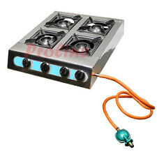 Portable 4 Quad Burners Stove Range Grill Propane Gas BBQ 10,000 BTU Cooking